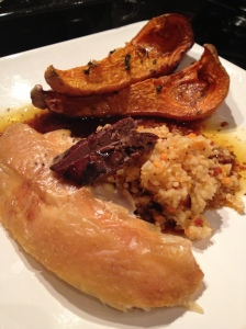 Roast chicken, roast butternut squash and bulgur wheat stuffing