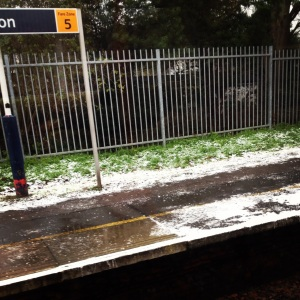 London snow, enough to cause delays