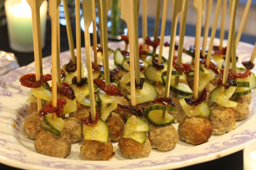 Oh what a party white cobnut gazpacho and canap s food for Meatball canape