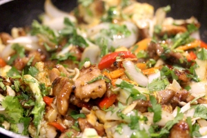 velveted pork stir fry with coconut and cashew nuts