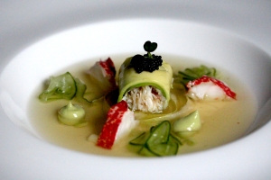 crab and avocado roll in crab and lobster broth