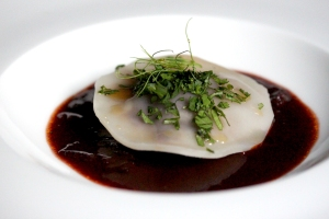 Spicy beef ravioli and red wine barbecue sauce