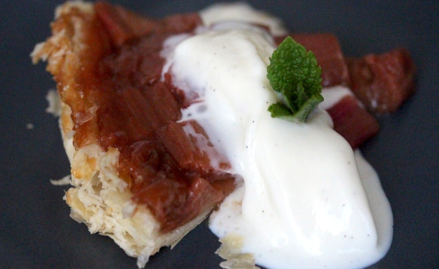 rhubarb tarte tatin with fat free yoghurt icecream