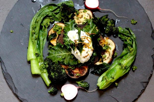 Vegetables with coriander and hazelnut pesto
