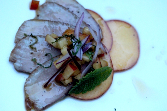 Smoked breast of duck with nectarine carpaccio