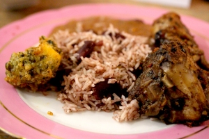 jerk chicken with an ackee and calaloo fritter