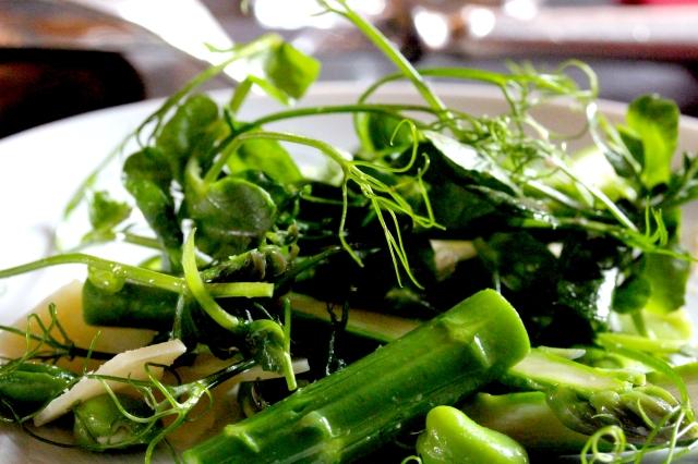 pea and asparagus salad at the Gilbert Scott bar