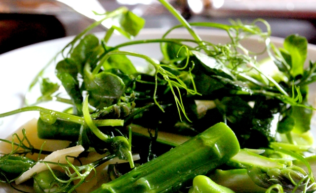 pea and asparagus salad at the Gilbert Scott bar