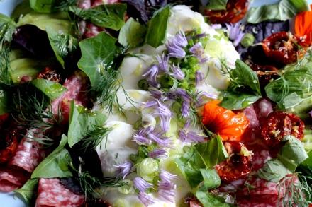 mozzarella and salami salad