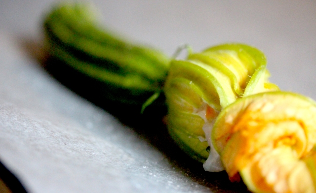 Scallop mousse stuffed courgette flower