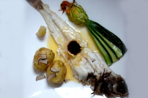Torbay sole with scallop stuffed courgette