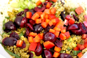 ancho chile, cranberry bulgur wheat salad