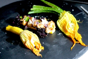 stuffed courgette flowers with skate cheeks
