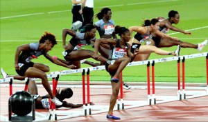 women's 400 m hurdle track and field