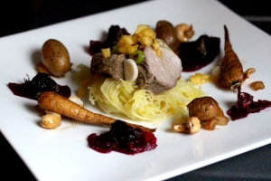 Pork with garden vegetables and spaghetti squash