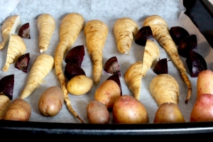 potatoes, parsnip and beetroots for roasting