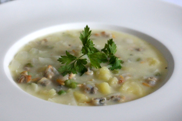 cockel and French bean chowder