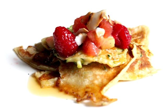 pancakes fruit honey and coconut