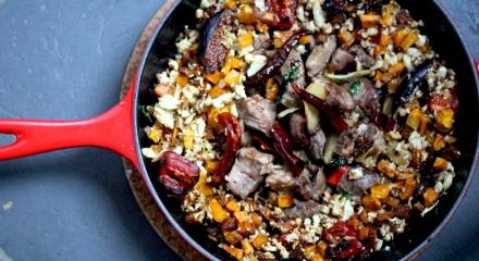 Confit pork with cauliflower rice
