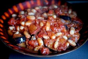 Aubergine and bean stew