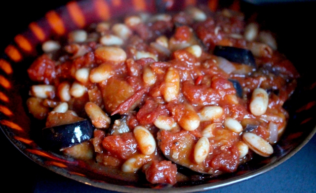 Aubergine and bean stew