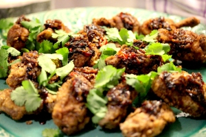 twice fried chicken wings with spicy maple glaze