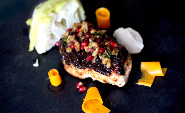 Chcken with burnt miso butterscotch and walnut salsa