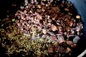 Spices roasting for Chinese five spice mix