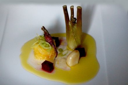 confit fennel with pickled fennel and olive leaf tea gel