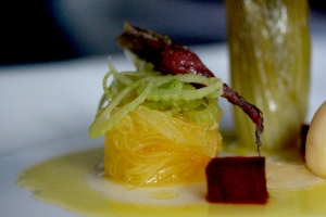 confit baby beetroot with spaghetti squash and olive leaf tea