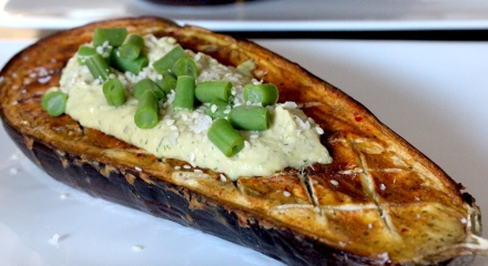 Roast aubergine and hummus