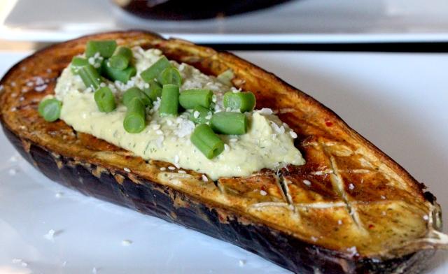 Roast aubergine and hummus