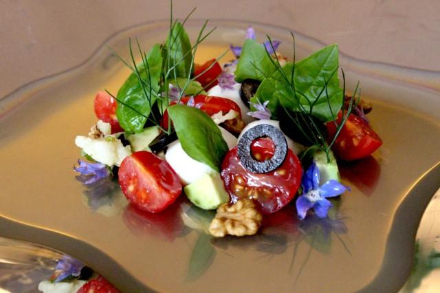 Olive leaf tea and tricolore salad