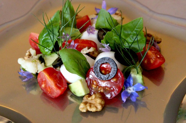 Tasmanian Olive leaf tea jelly tricolore salad