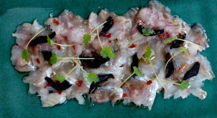 herring ceviche with black garlic