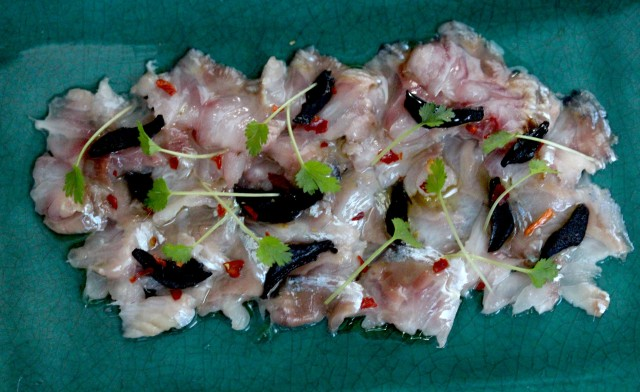 herring ceviche with black garlic