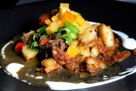 chilli beef stew with persimmon salsa