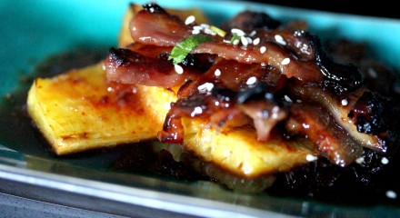 Fish sauce, maple suryp and chile candied pork belly