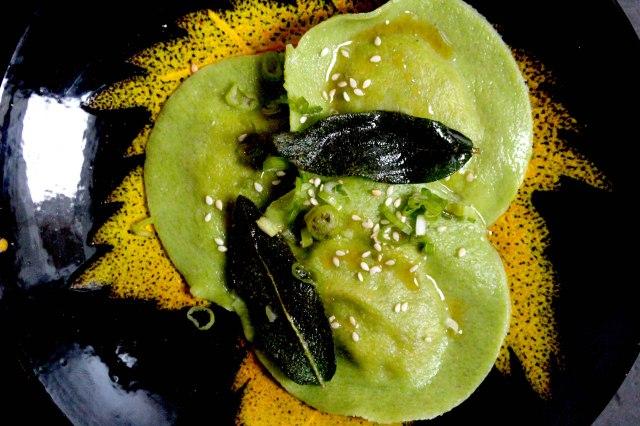 Watercress pasta ravioli with chorizo filling