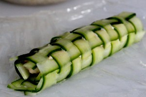 cucumber and chorizo lattice roll