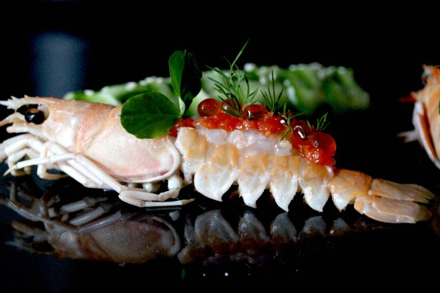 Langoustine ceviche with grapefruit and salmon roe