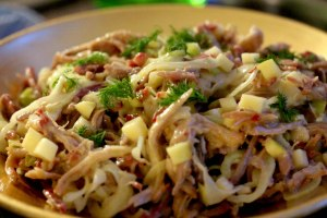 Pulled pork, apple and fennel salad