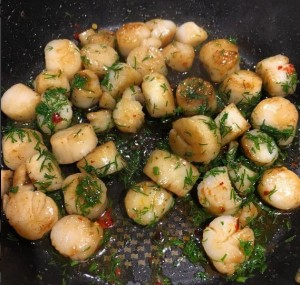 butter fried scallops with dill and chili oil
