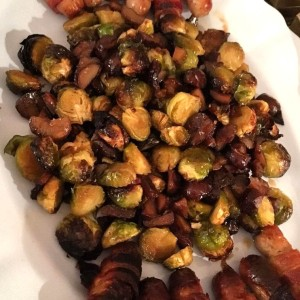 Maple and chilli roasted brussel sprouts and chestnuts
