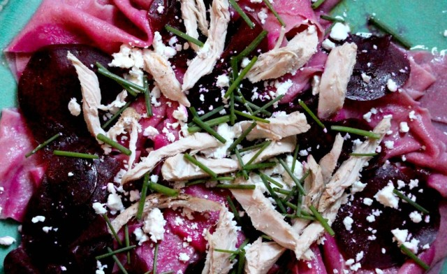 beetroot pasta with pheasant and feta cheese