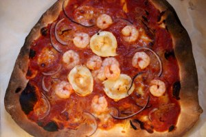 prawn and goats cheese pizza