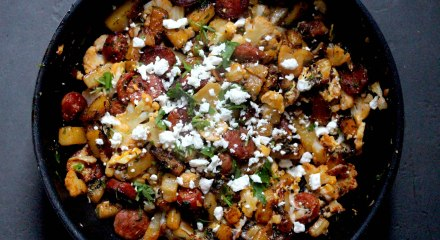 Chorizo and cauliflower hash