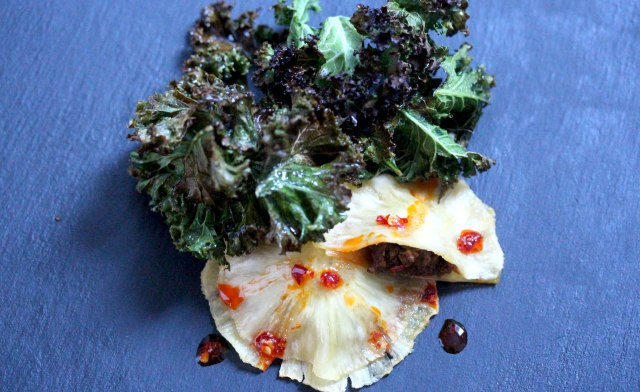Carnitas filled pineapple ravioli with crispy kale