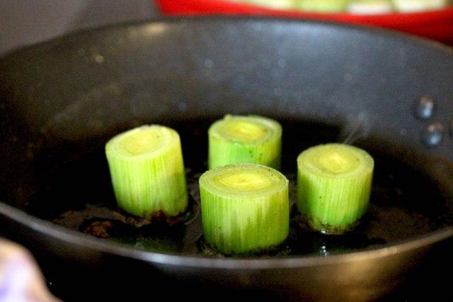 frying leeks