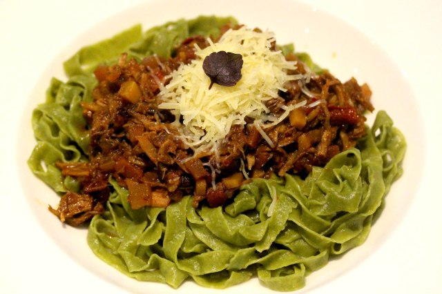 pulled pork ragu with moringa leaf tagliatelle